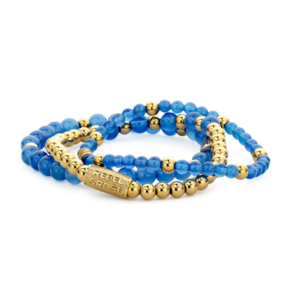 More Balls Than Most - Brightening Blue - 4mm - yellow gold plated