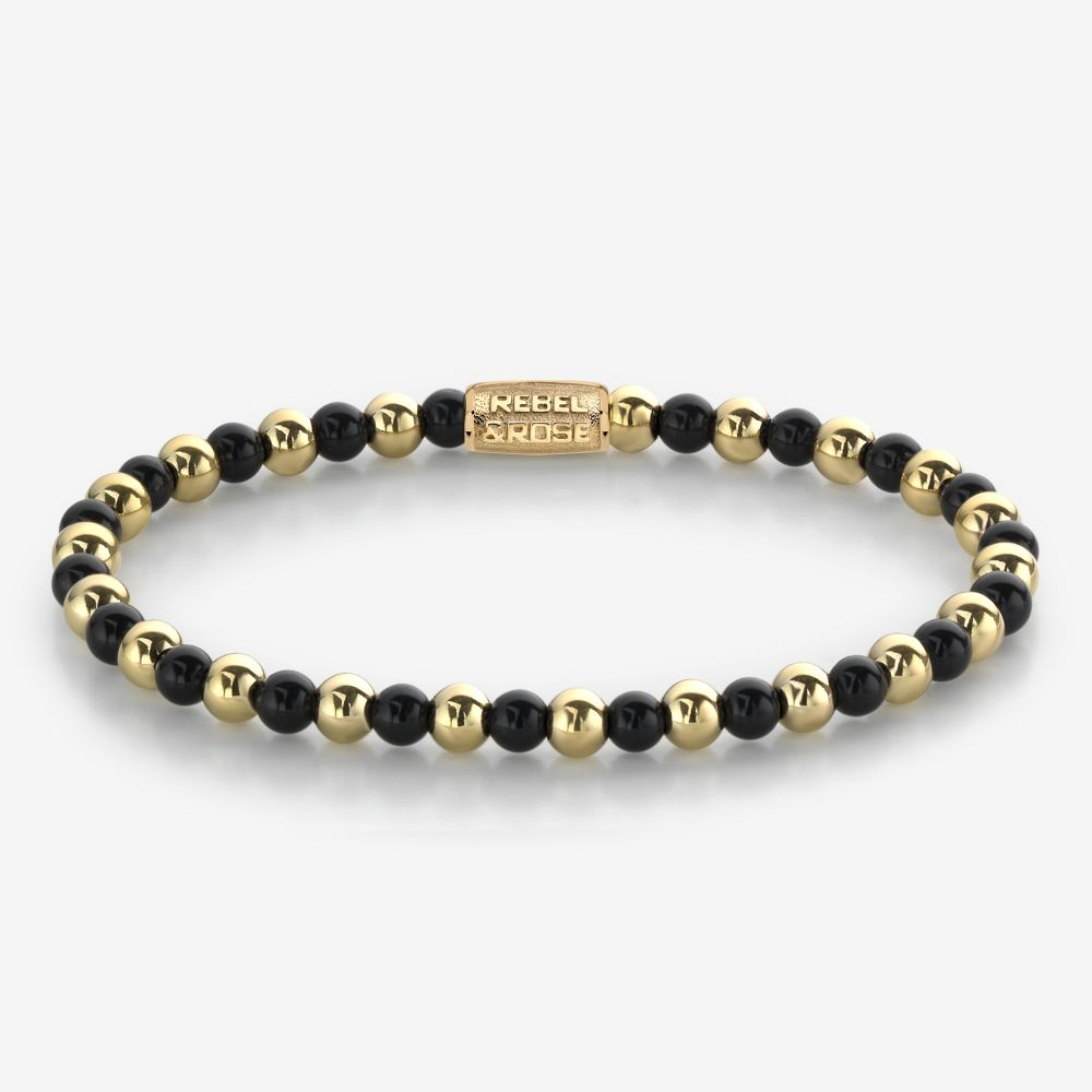 More Balls Than Most - Mix Black Madonna - 4mm - 18 ct yellow gold plated