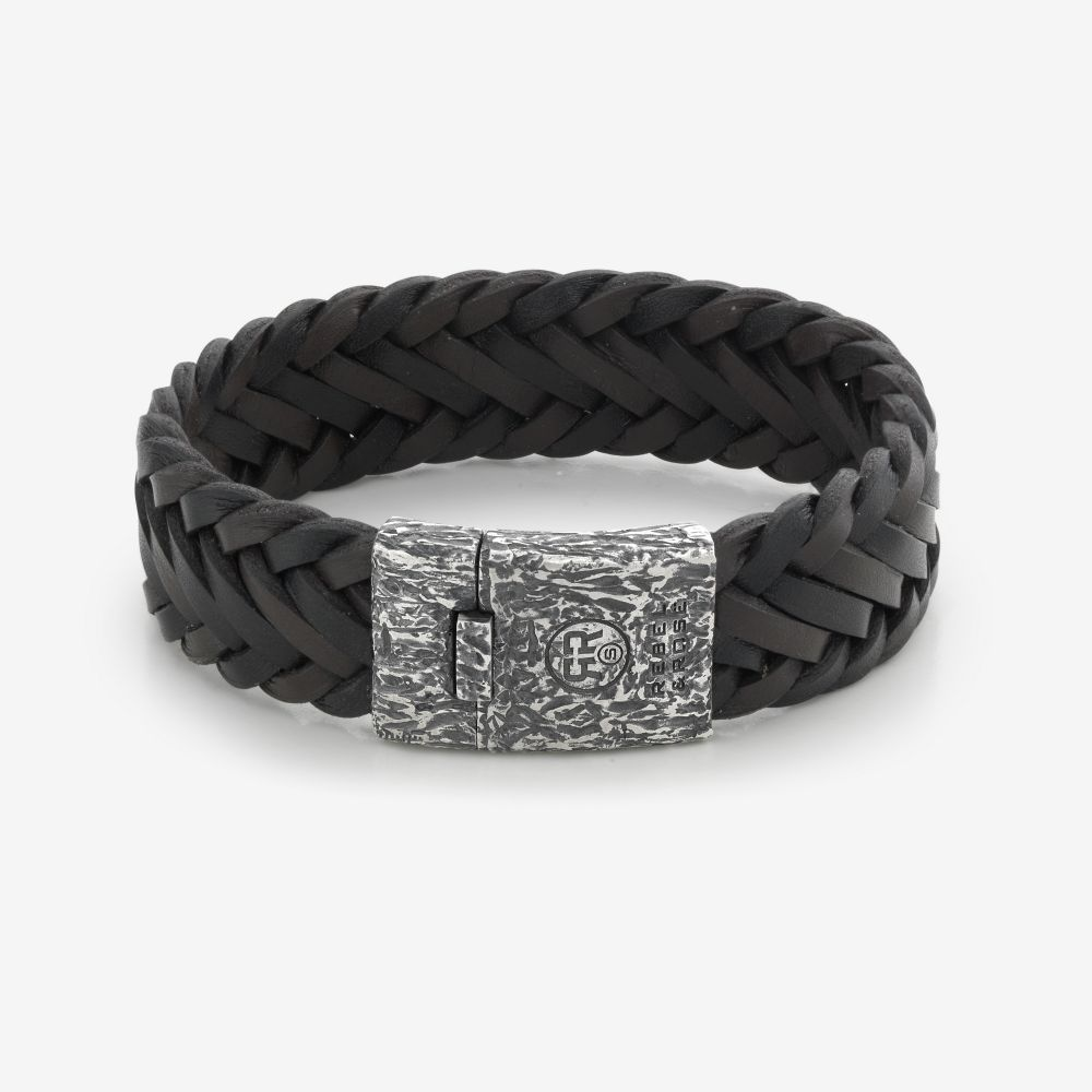 Absolutely Leather - Big Braided Raw Vintage Black-Earth