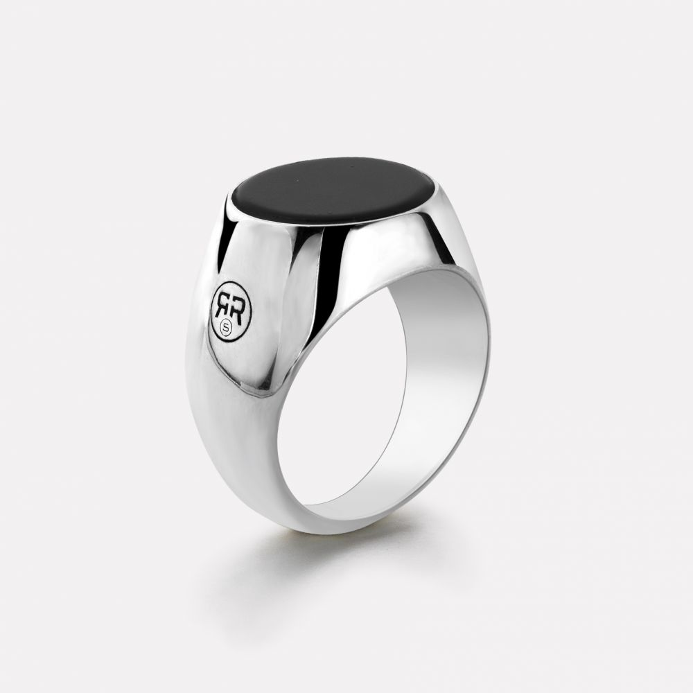 Sterling Silver Rings - Ring Round Onyx