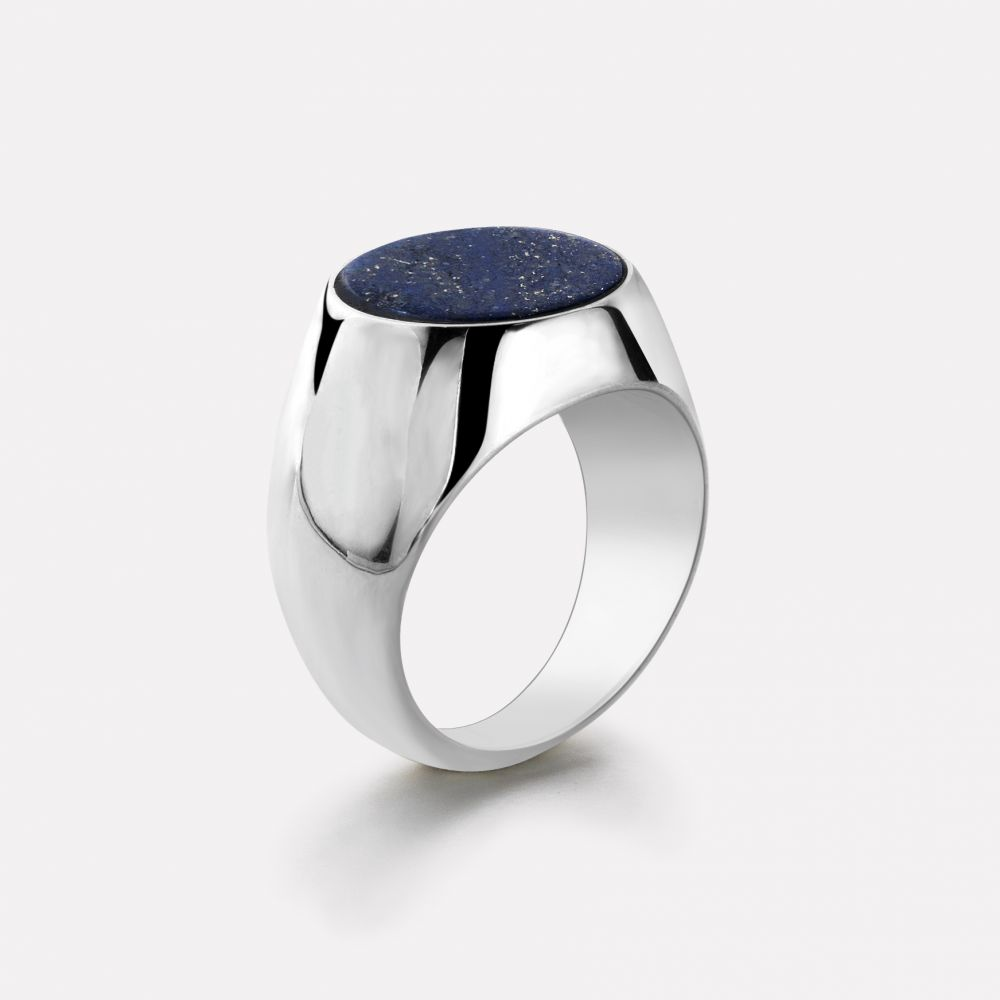 Sterling Silver Rings - Ring Round Lapis