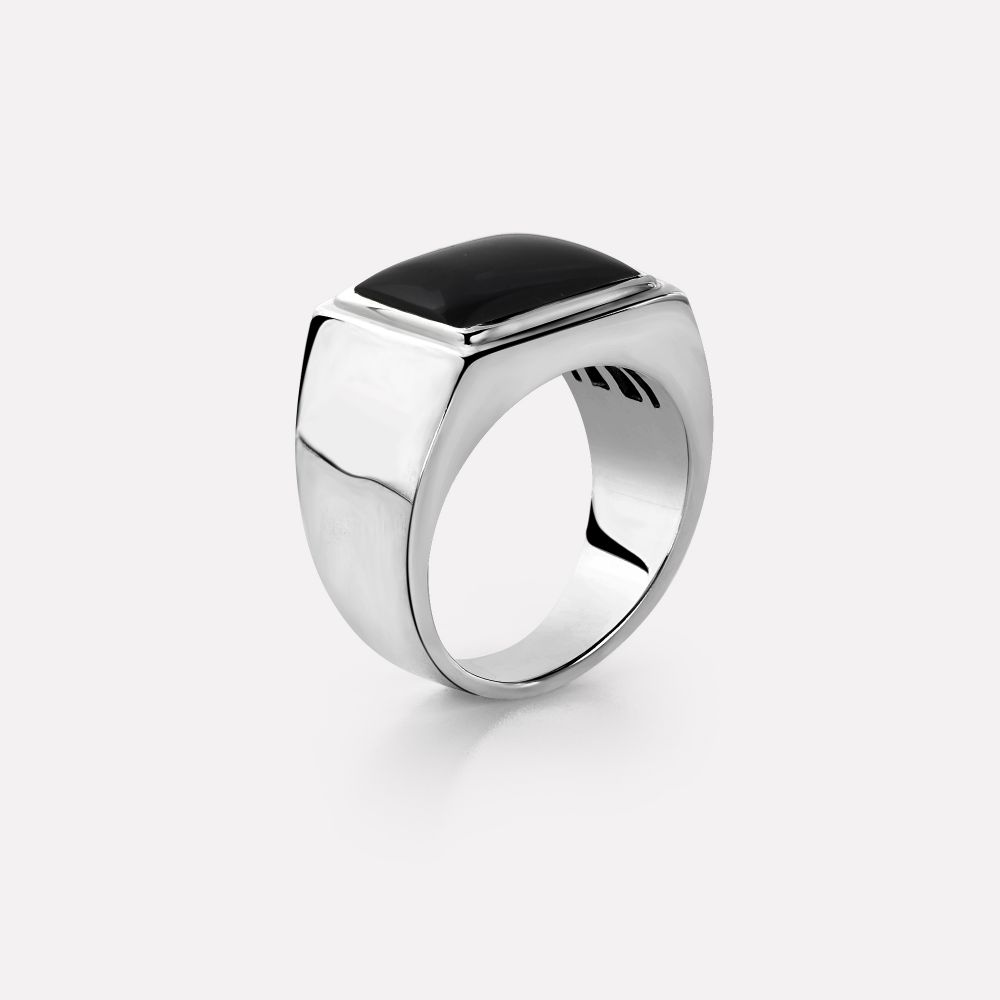 Sterling Silver Rings - Ring Square Onyx