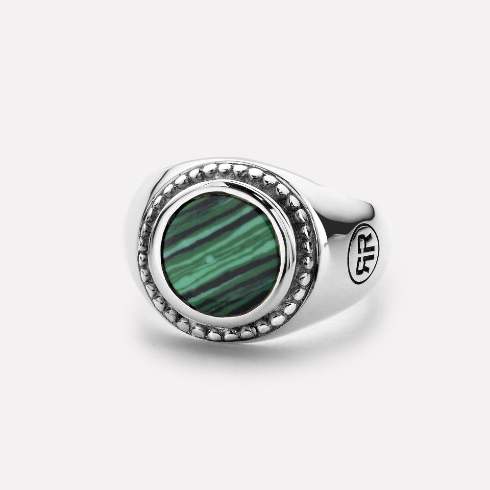 Sterling Silver Rings - Ring Women Round Malachite