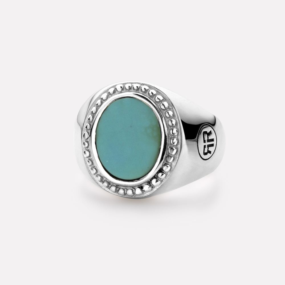 Sterling Silver Rings - Ring Women Oval Turquois