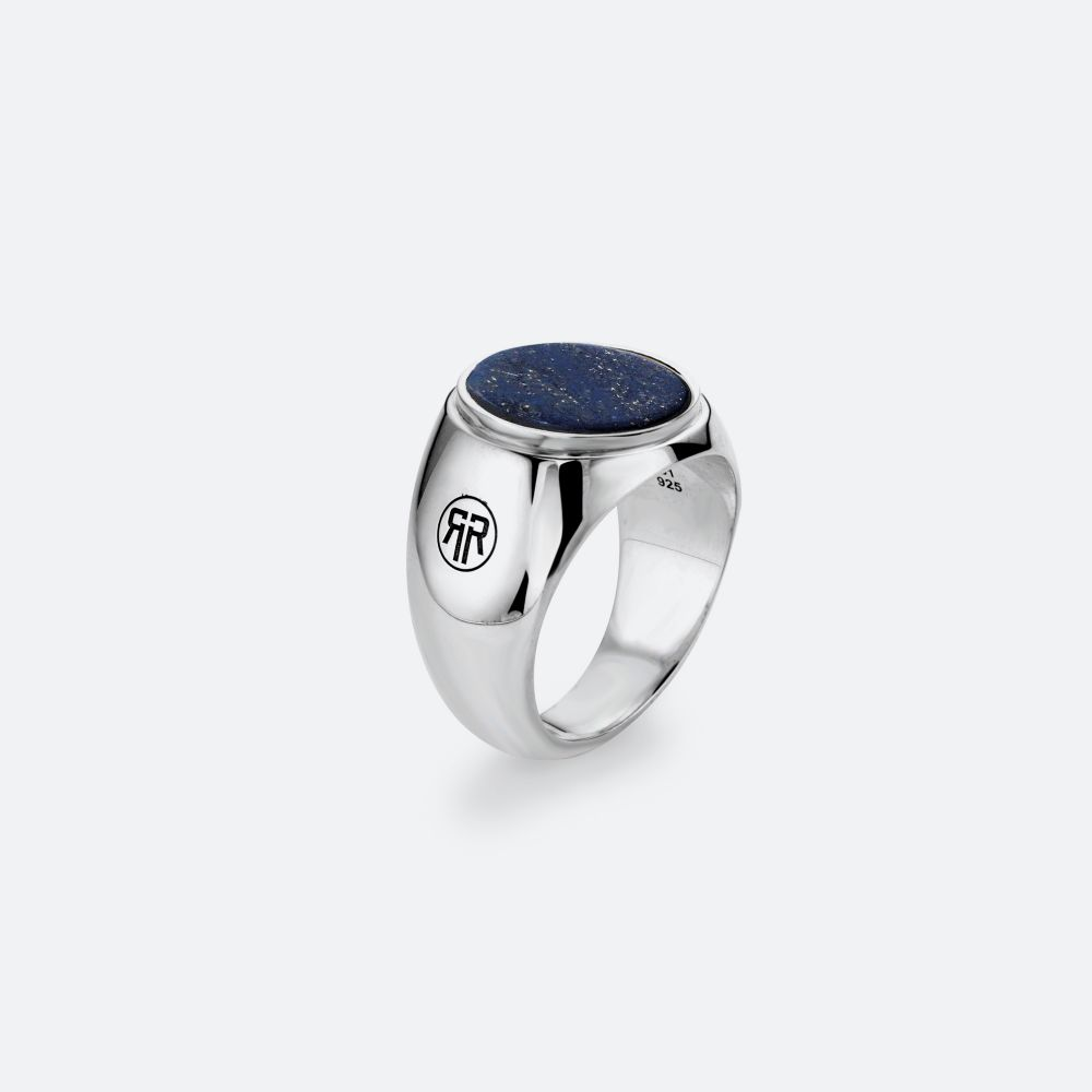 Sterling Silver Rings - Ring Round Lapis Lowneck