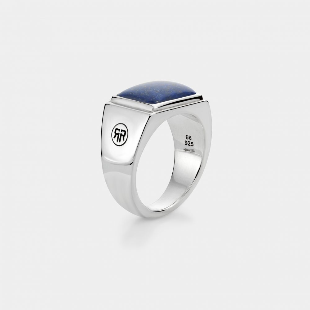 Sterling Silver Rings - Ring Square Lapis Lowneck