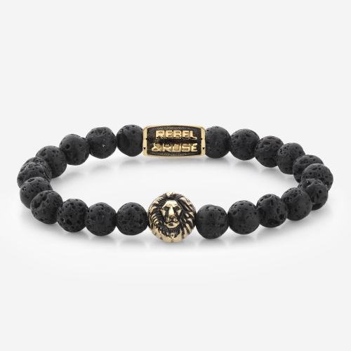 Lion Head - Black Moon - yellow gold plated