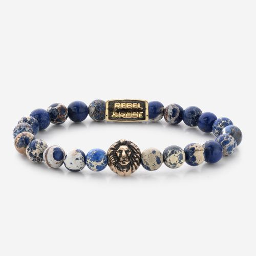 Lion Head - Universe Blue - yellow gold plated