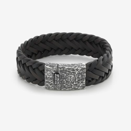 Absolutely Leather - Big Braided Raw Vintage Black/Earth