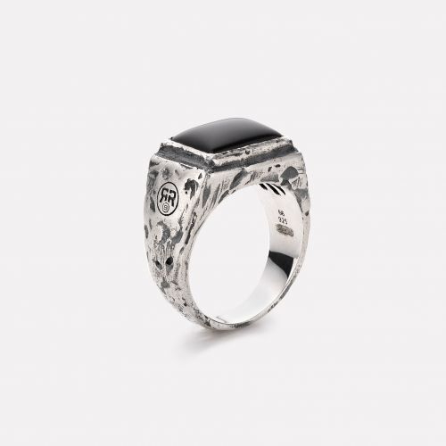 Sterling Silver Rings - Ring Square Onyx Vintage