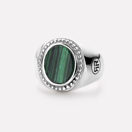 Sterling Silver Rings - Ring Women Oval Malachite